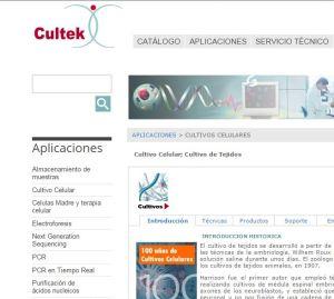 landing page de cultivo celular CULTEK
